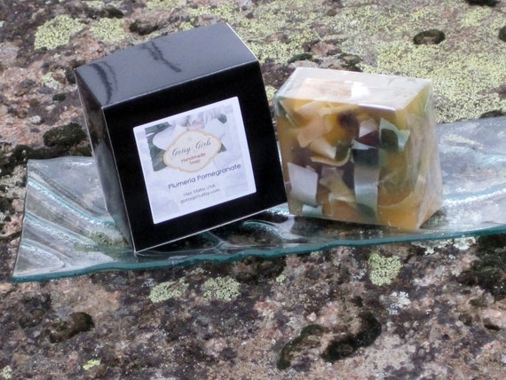 TrESuReY Item  XX Large  Bar Artisan Handmade Vegan Plumeria Pomegrante Soap Olive Coconut Oils All Natural Soap