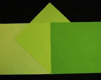 5x5 Inch Precut Quilt Squares, CHARTREUSE SEMI-SOLIDS Light, Medium & Dark, 60 Pcs, Pre Cut Hand Dyed
