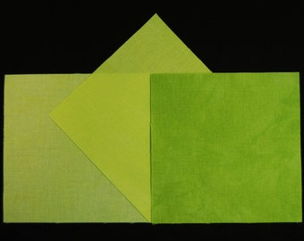 5x5 Inch Precut Quilt Squares, CHARTREUSE TEXTURED Light-Medium-Dark , 60 Pcs, Pre Cut Hand Dyed