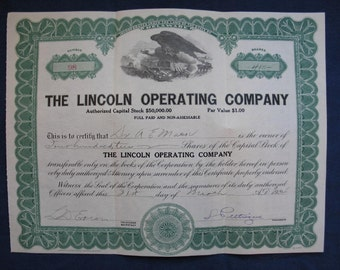 Vintage Mining Stock Certificate Lincoln Operating Company 1924