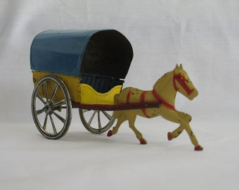 Antique Tin Horse and Cart