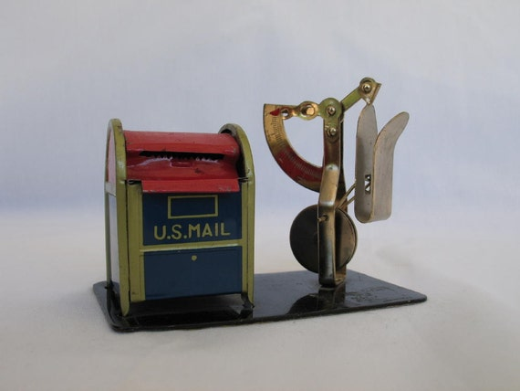 Vintage Postal Scale and Stamp Dispenser Tin Mailbox