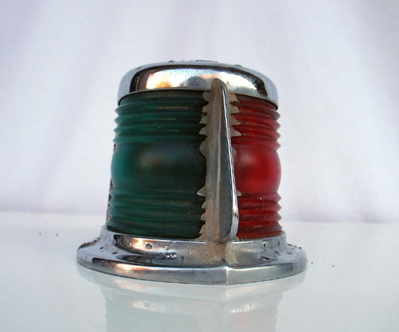 Vintage Boat Light Green, Red, and Chrome
