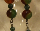 Red and Green Jade Bead Dangle Earrings