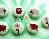 1 1/8 Inch Fabric Covered Buttons - Set of 7 - Red Sheep