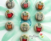 7/8 Inch Fabric Covered Buttons - Set of 10 - Potted Plant