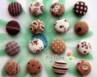 7/8 Inch Fabric Covered Buttons - Set Of 16 - Chocolate