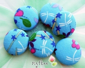 1 1/8 Inch Fabric Covered Buttons - Set of 6 - Around The Pond