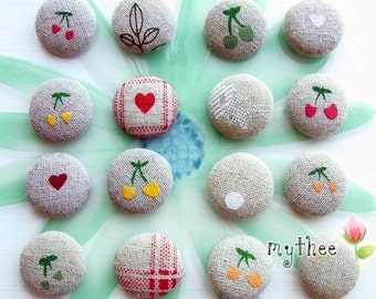 1 Inch Fabric Covered Buttons - Set of 16 - Linen Spirit