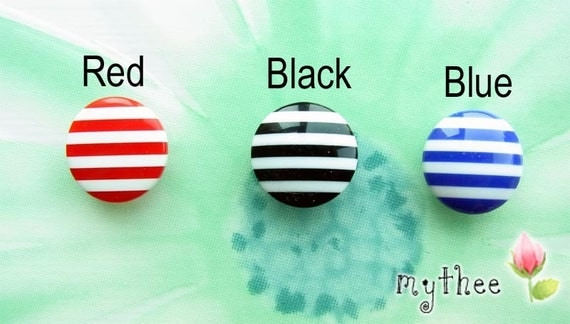 5/8 Inch (15MM)  Color Striped Buttons - Set Of 6 - Resin - Red/Black/Blue