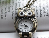Prerry retro copper owl pocket watch necklace pendant jewelry vintage style