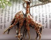 Pretty retro copper coffee or brown color glaze giraffe couples necklace pendant jewelry vintage style