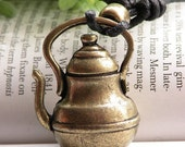 Pretty retro copper 3d three-dimensional wine pot kettle bottle with adjustable rope necklace pendant jewelry vintage style
