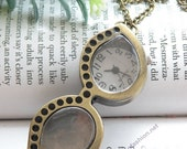 Retro copper can open glasses eyeglasses pocket watch necklace pendant jewelry vintage style