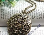 Pretty retro copper hollow carved Watch Movement Train bird pattern photo box necklace pendant jewelry vintage style