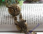 Pretty retro copper 3 owls head necklace pendant jewelry vintage style