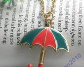 Pretty retro gold umbrella parasol pendant necklace vintage style