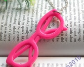 Pretty plastic glasses with pink color necklace pendant vintage style