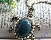 Pretty retro copper blue sea turtle tortoise necklace pendant vintage style