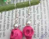 SALES-Pretty silver hooks with rose red color turquoise skull head earrings vintage style