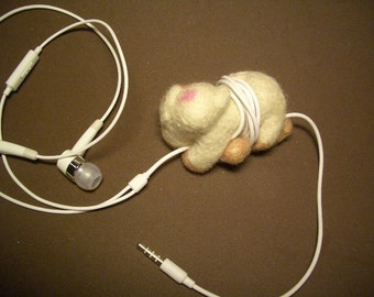 Felted wool cute pig- shorten headphone, earphone cord manager/ wire holder.....