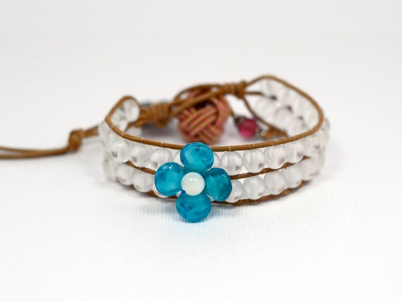 One of a kind Blue verbena leather wrap bracelet by KuzuAccessories - Worldwide Free Shipping - gifts under 30