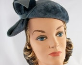 Vintage 1940s Grey Fur Felt Topper