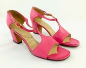 1960s Pink Leather Sandals by I. Miller  Size 5M