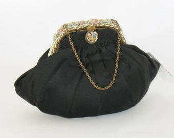 Vintage 1930s Black Satin Pouch Purse