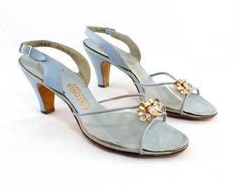 1940s Ansonia Handmade Blue Leather Sling Backs  9 1/2 N