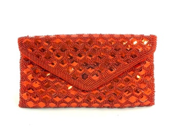 1970s Red Beaded Satin Clutch Purse