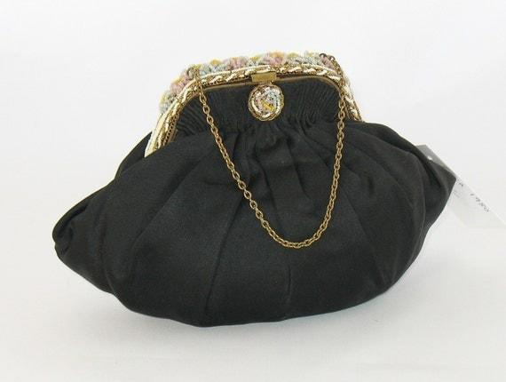 Vintage 1930s Black Satin Pouch Purse