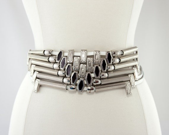 Intricate White Leather and Silver Bead Belt