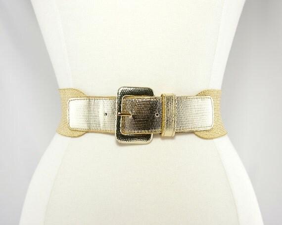 1980s Gold Metallic Elastic Cinch Belt
