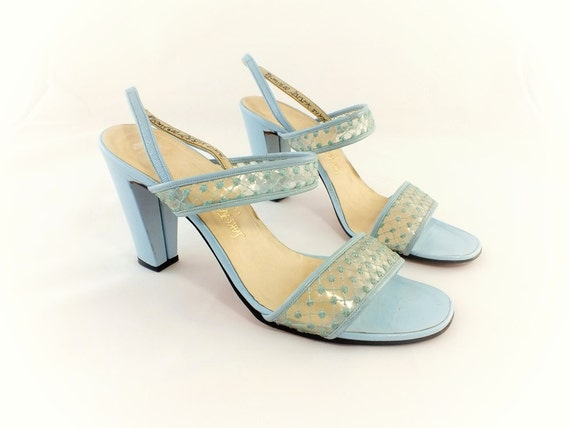 1960s Saks 5th Avenue Blue Leather Sandals  Size 8 1/2 M