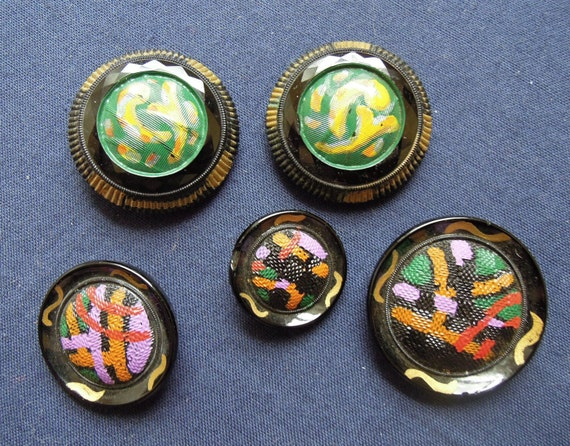 Antique Faceted Glass Hand Painted Buttons Lot of 5