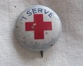 Vintage I Serve Red Cross Medical Nurse Pin Pinback Button Greenduck Stamping Co
