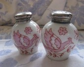 Vintage Rosenthal Germany U.S Zone Salt & Pepper Shakers Red Pink Hand Painted Folk Birds Silver 835 Tops