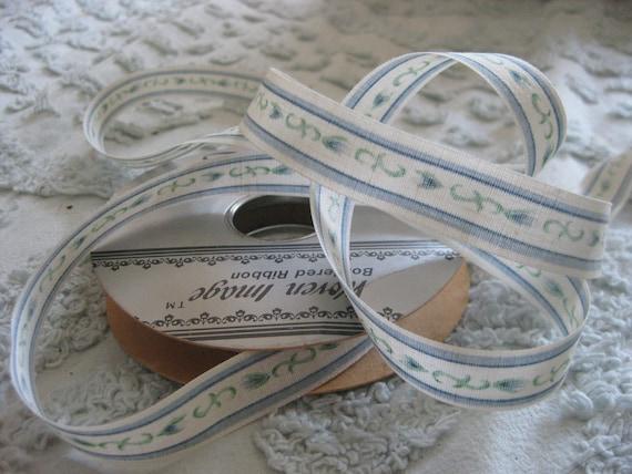 15-20 Yards Vintage Shabby Chic Blue Floral Border Ribbon