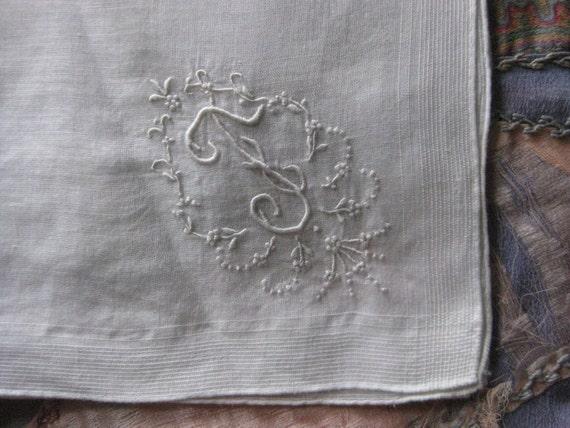 Vintage Letter F Monogram Hankie -  Embroidered on White