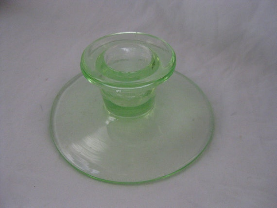 Vintage Depression Era Glass Green Candle Holder - Simple Clean Lines