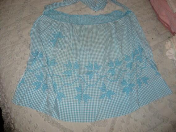 Vintage Blue Gingham Plaid Cross Stitch Apron