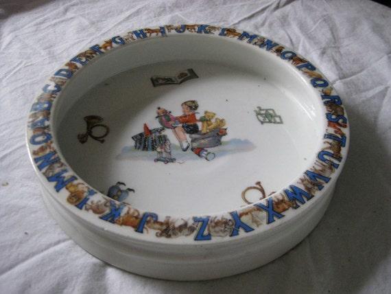 c1930 Antique Porcelain Baby Dish Bowl Alphabet Animals Germany