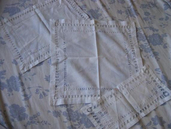 Set 3 Piece Vintage White Cotton Dresser Runner Linen Delicate Threading A96