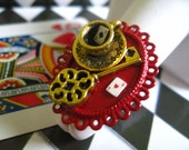 Tea Time with the Mad Hatter - Alice in Wonderland red and white filigree ring