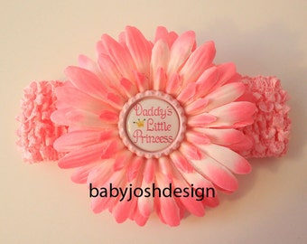 Daddy's Little Princess  Bottle Cap daisy flower plus crochet headband