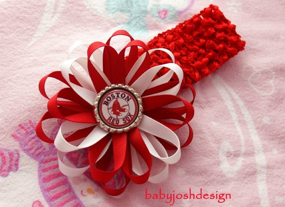 Boston red sox  Bottle Cap Hair Bow plus crochet headband.