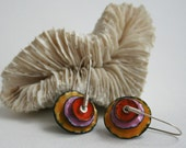 Fiesta II Enamel Earrings in Orange, Pink, and Marigold