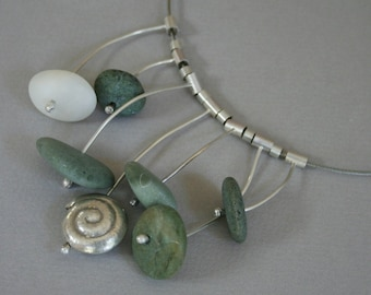 Beach Pebble and Silver Necklace