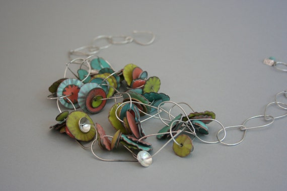 Enamel Flutter Necklace In Shades of Coral, Lime Green and Aqua